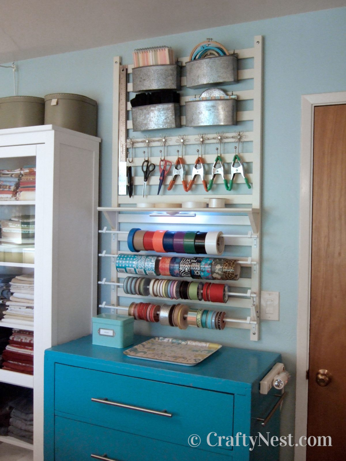 Crafting tool station with wall organizer, after photo