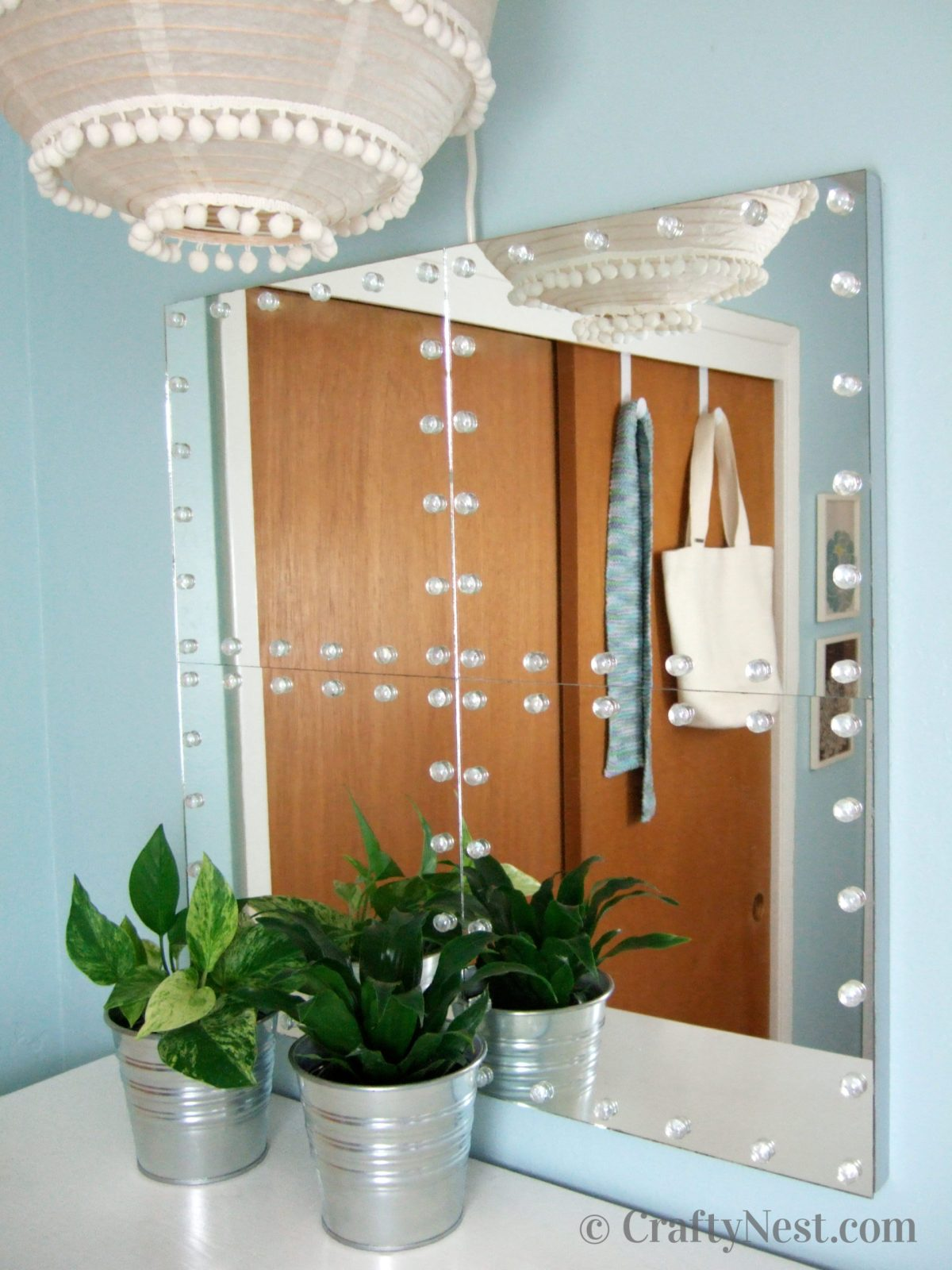 Tile mirror with glass studs, photo