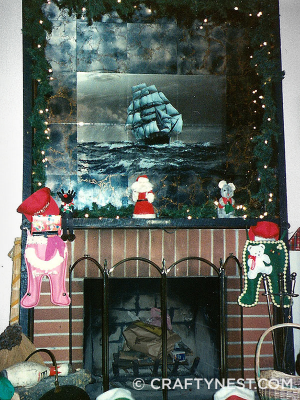 1970 fireplace mantel and tile mirrors, photo