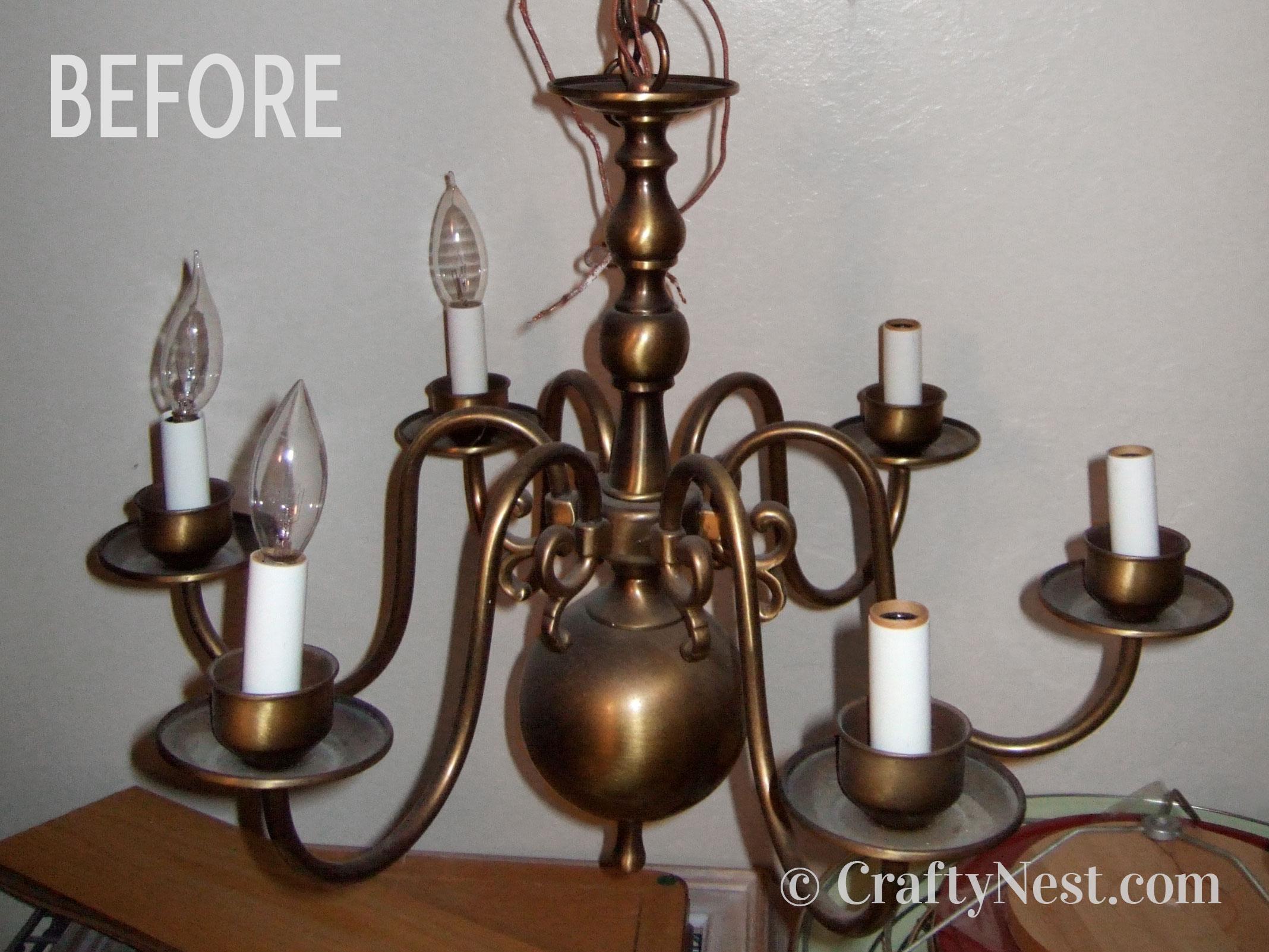 Brass chandelier, before photo