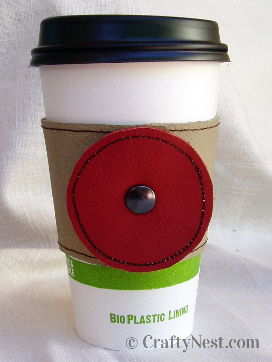 Finished leather coffee sleeve, photo