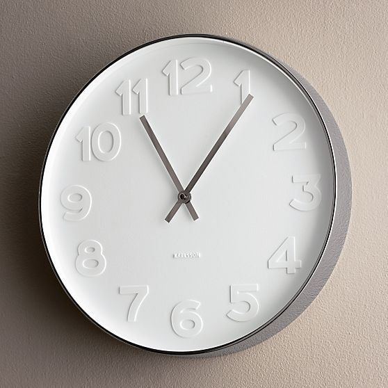 Crate and Barrel Embossed Numbers Wall Clock, photo