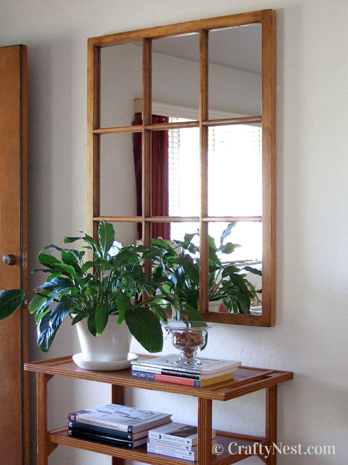 Salvaged window frame mirror, photo
