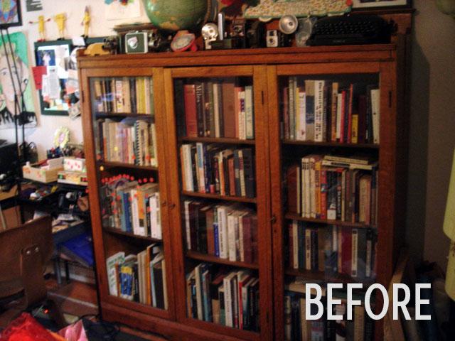 Bookshelf before, photo