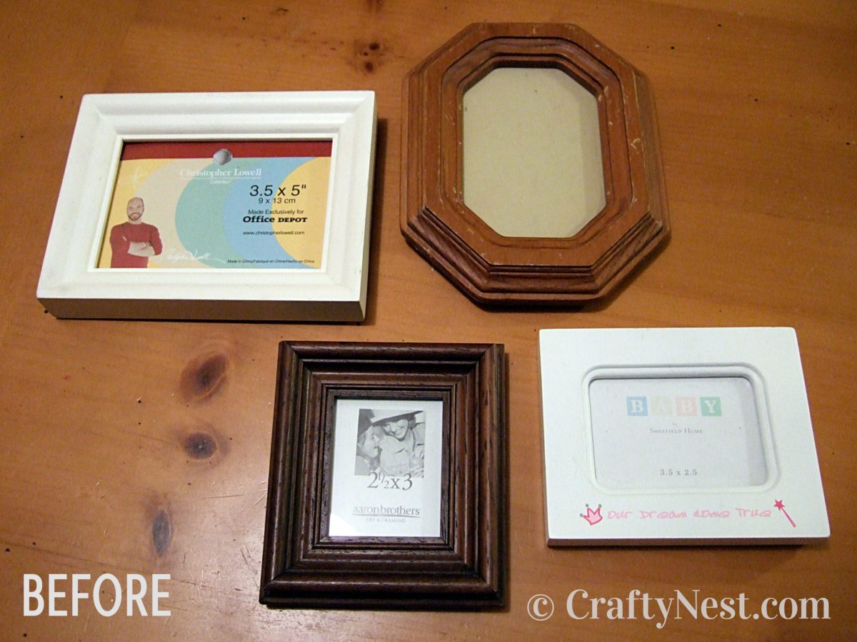 Mismatched picture frames before, photo