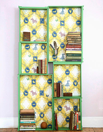 Country Living's salvaged drawer bookcase, photo