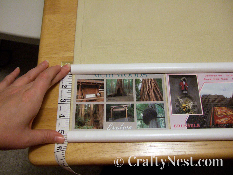 Measuring the first row of postcards, photo