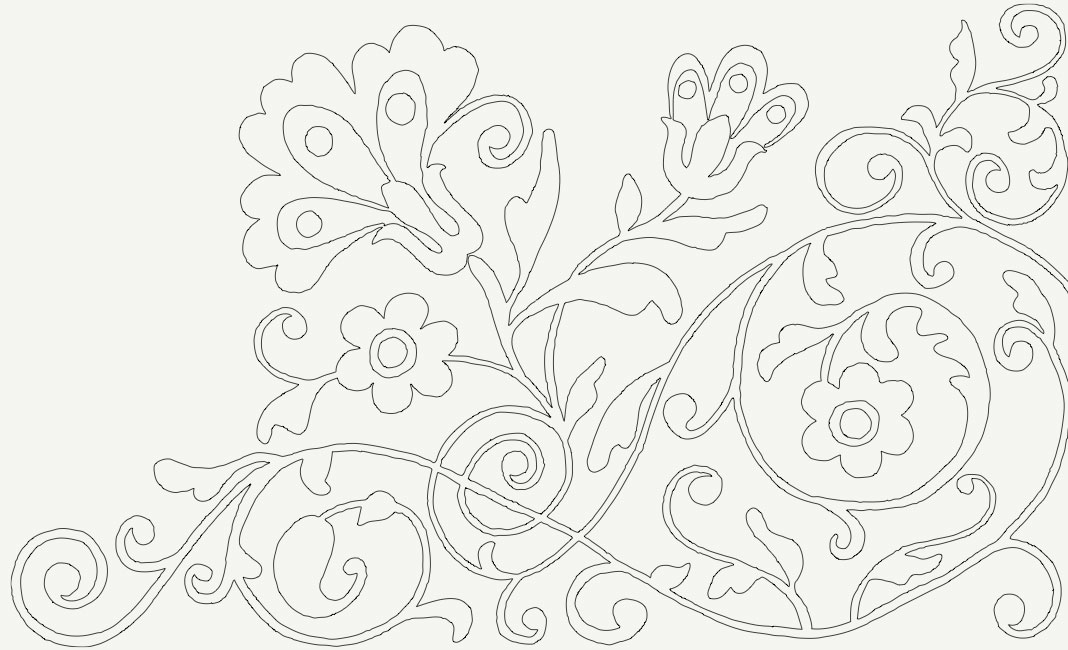 Pattern for cupboard door tray painted design, photo