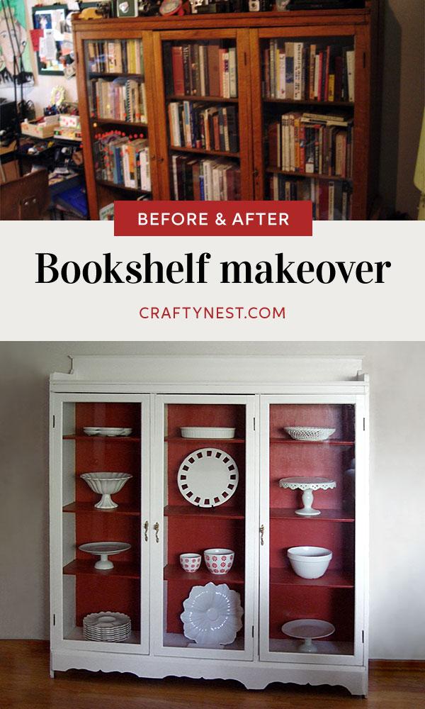 Crafty Nest bookshelf makeover Pinterest photo