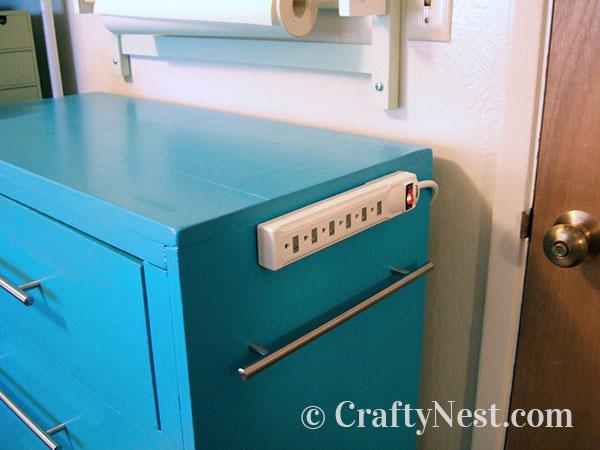 Attach power trip to dresser, photo