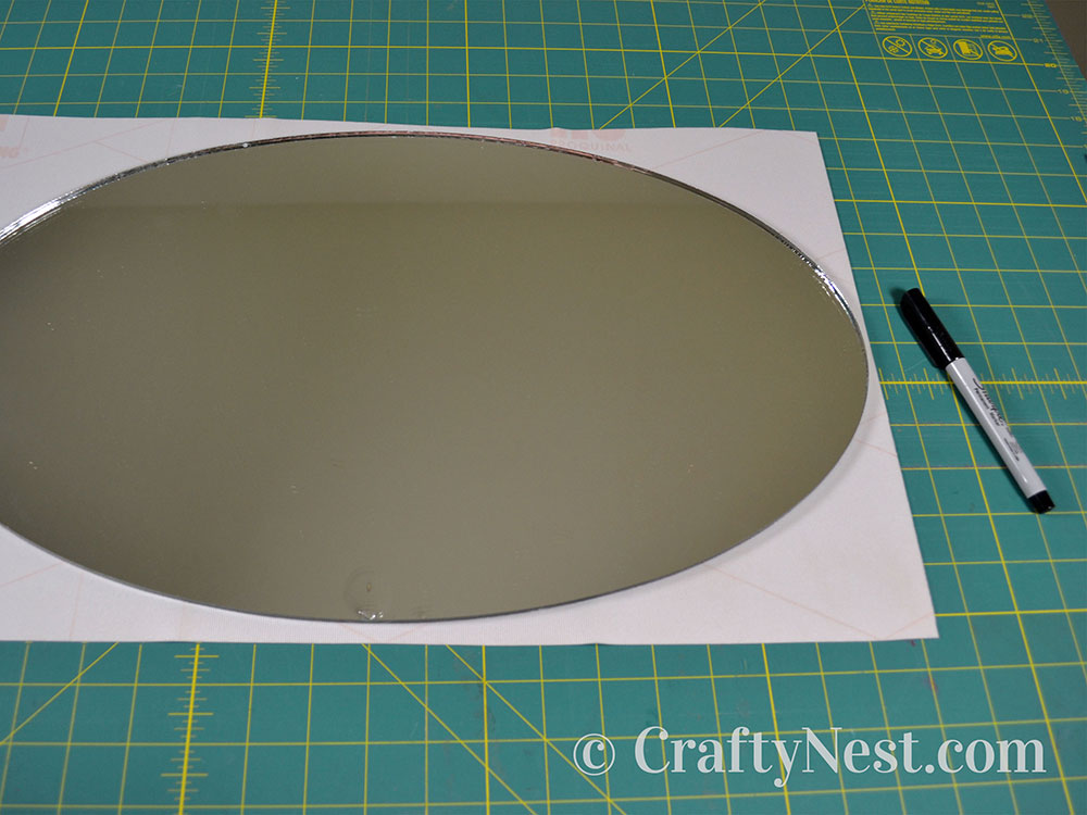 Trace the mirror onto backing, photo