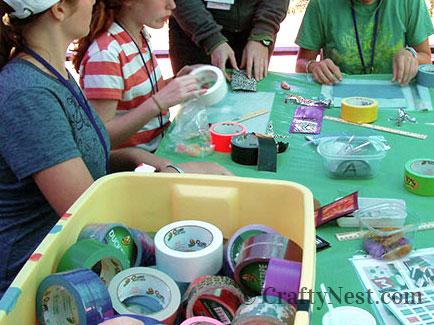At girls camp making wallets, photo