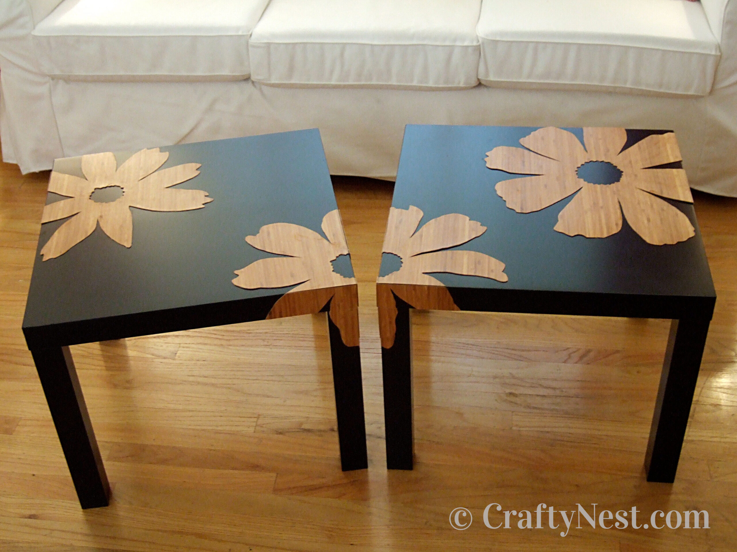 Ikea tables with bamboo-flower overlays, photo
