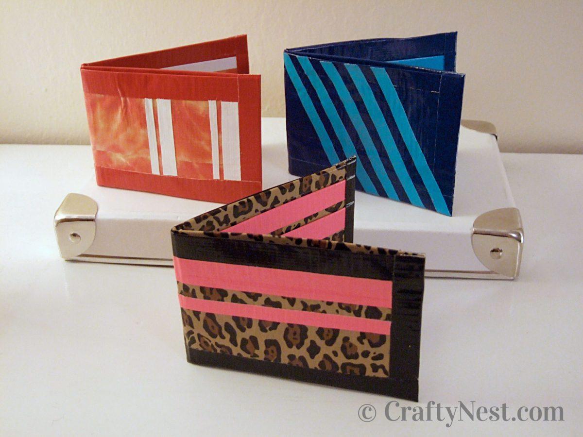 Three handmade duct tape wallets, photo