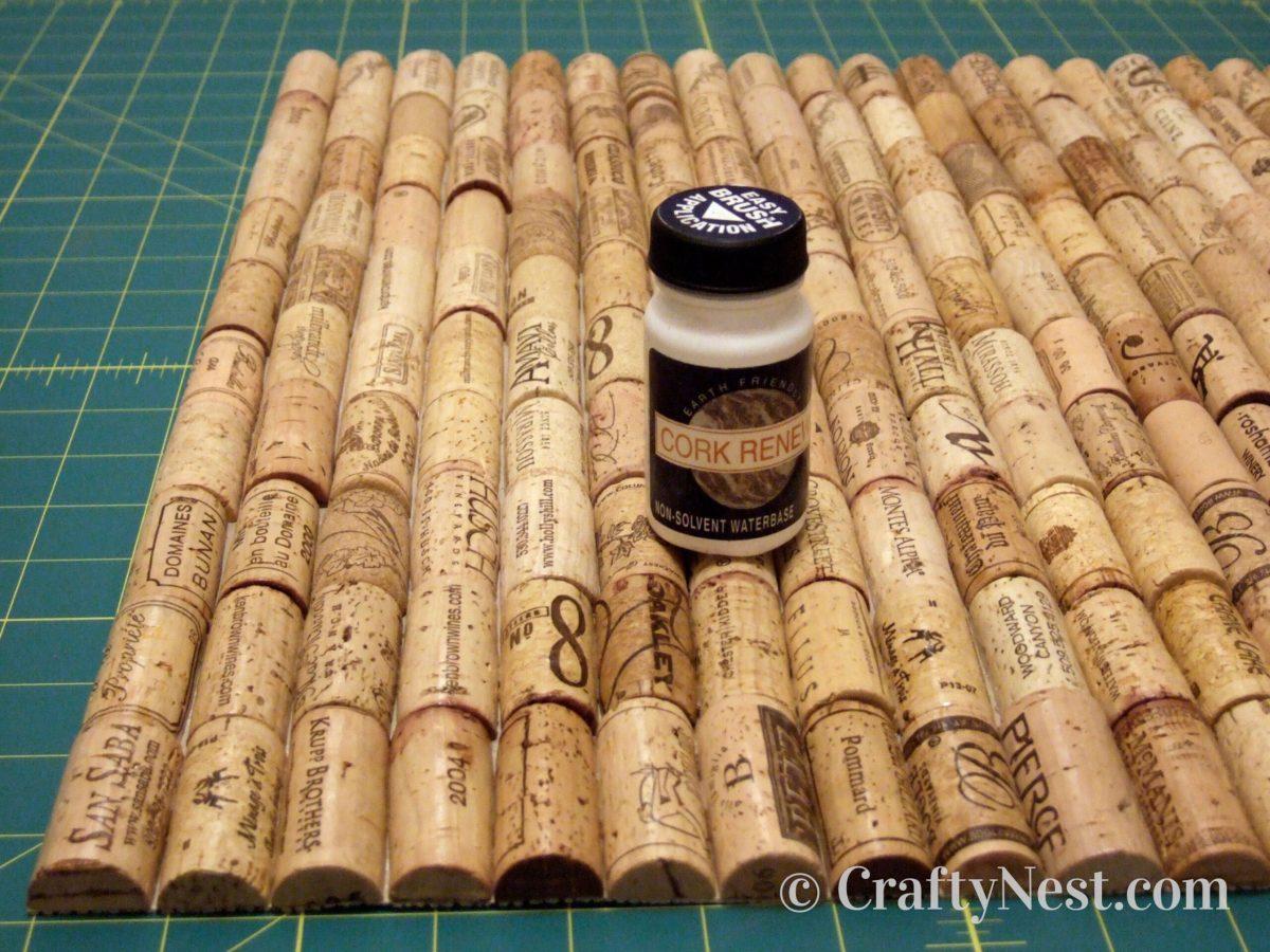 Wine cork bath mat with sealant, photo