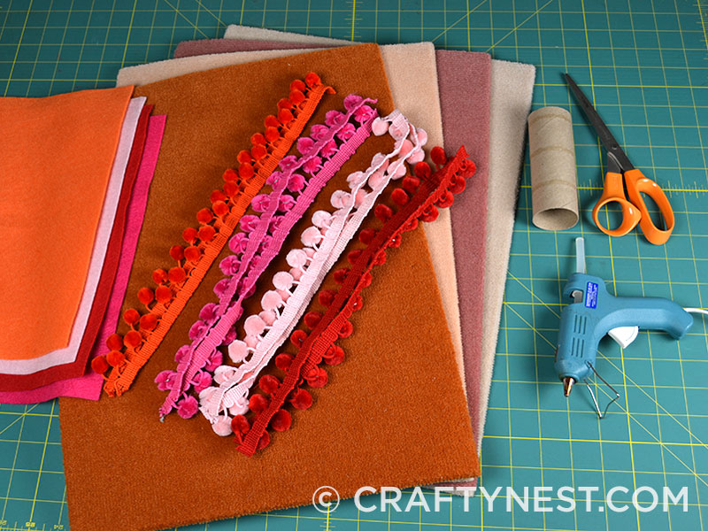 Supplies to make carpet sample placemats, photo