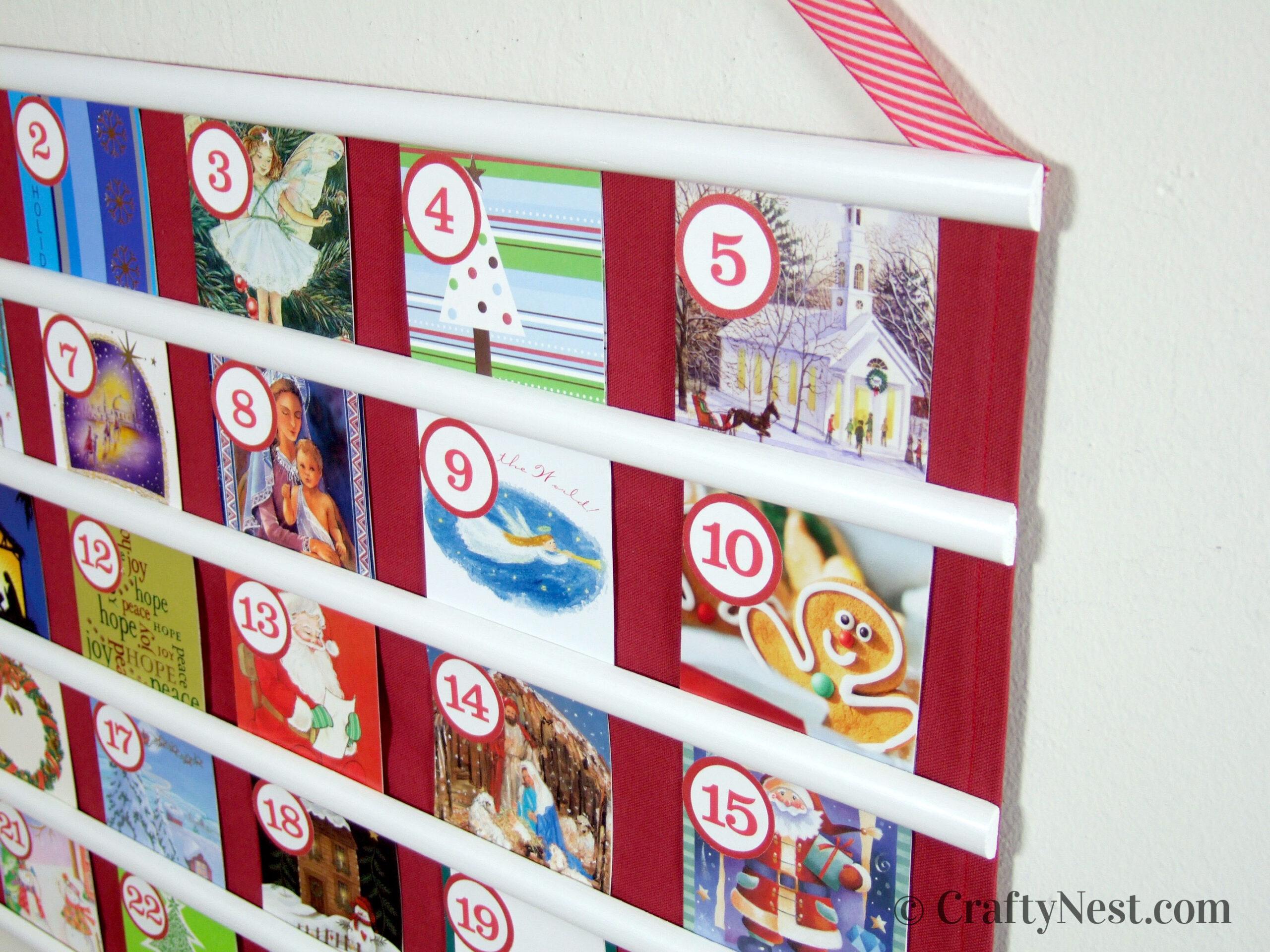 Recycled Christmas card advent calendar, photo