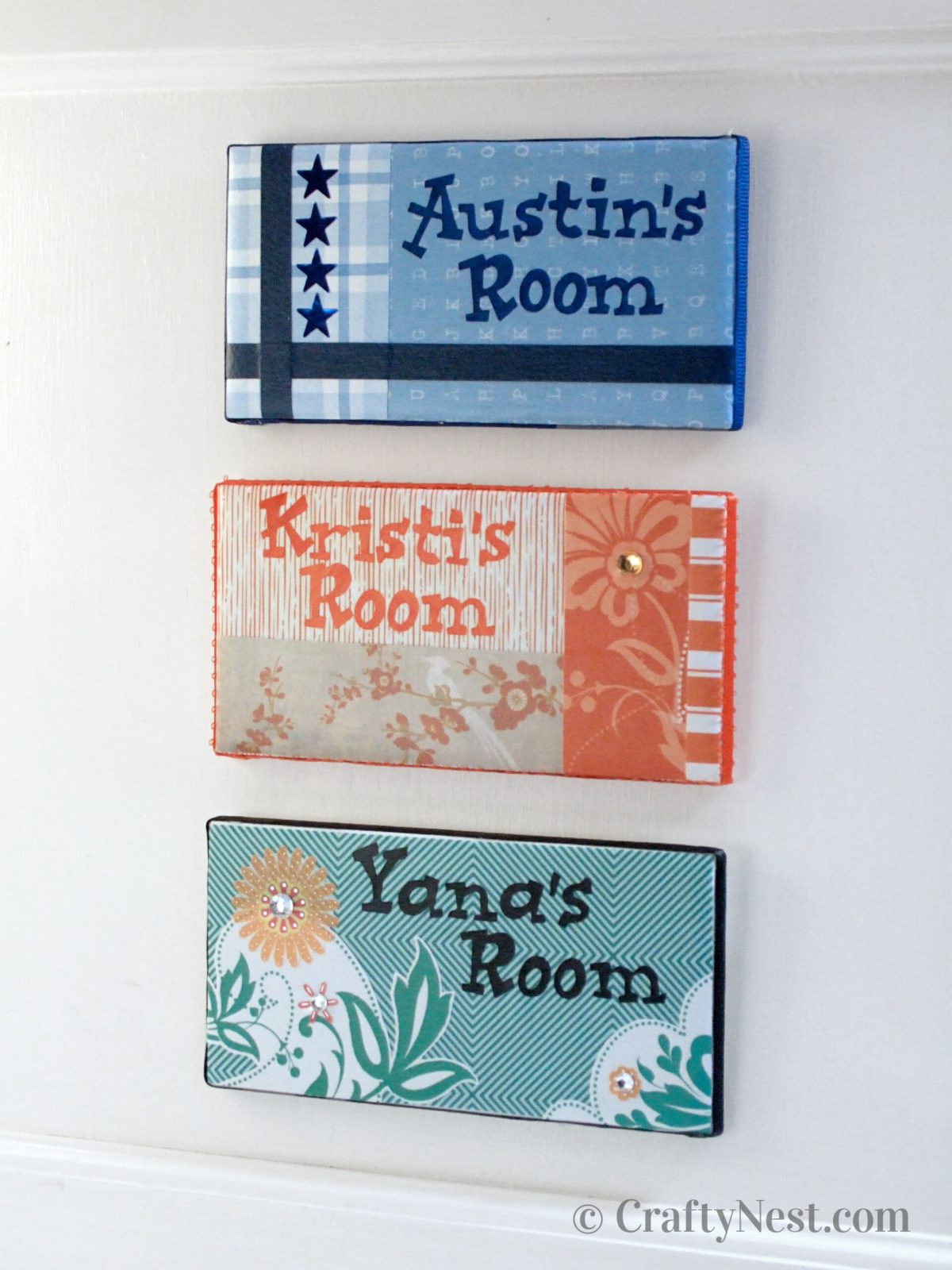 Name plates made from subway tiles, photo