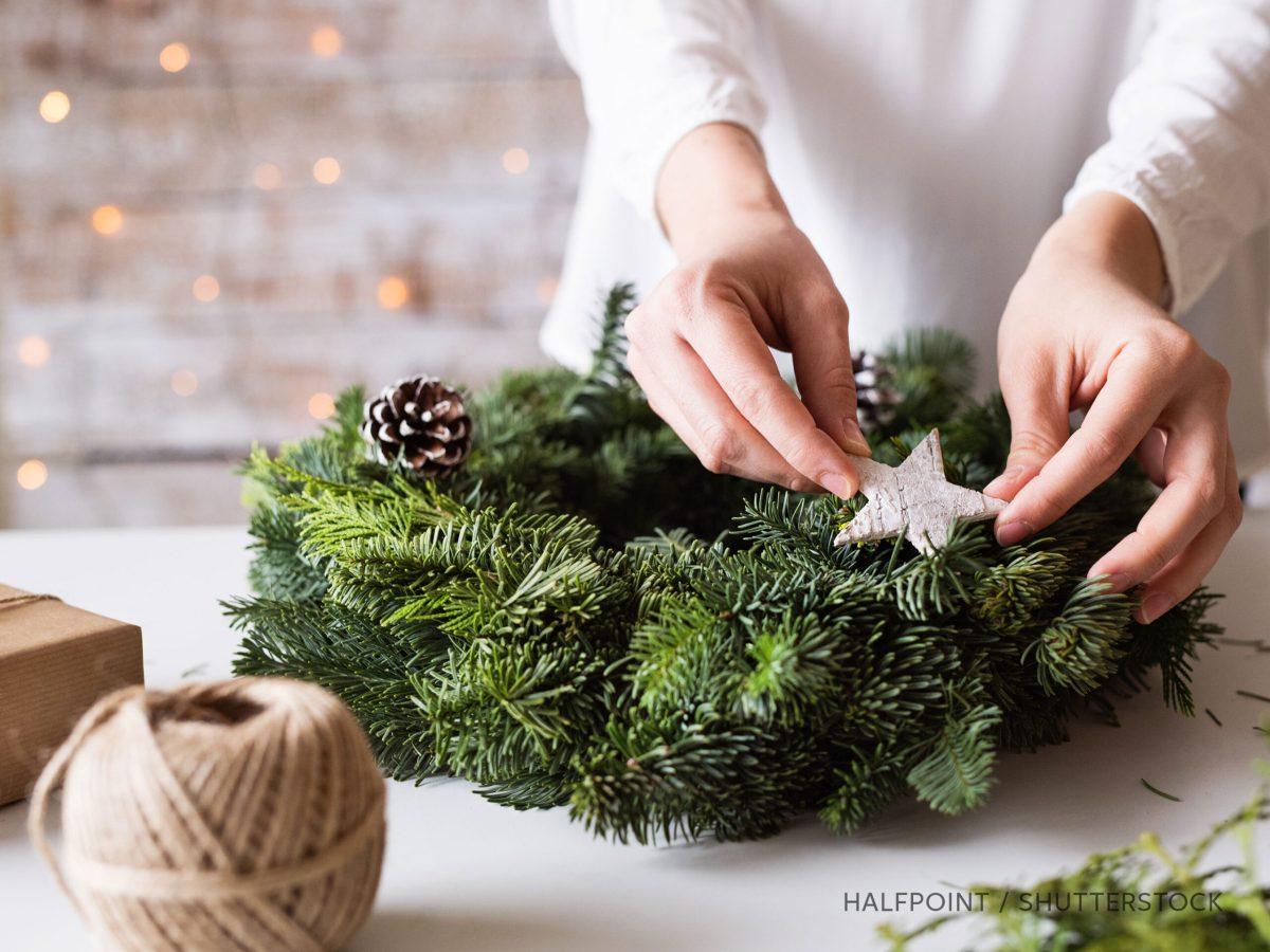 Woman making a wreath, photo