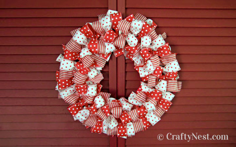 Red and white ribbon wreath, photo