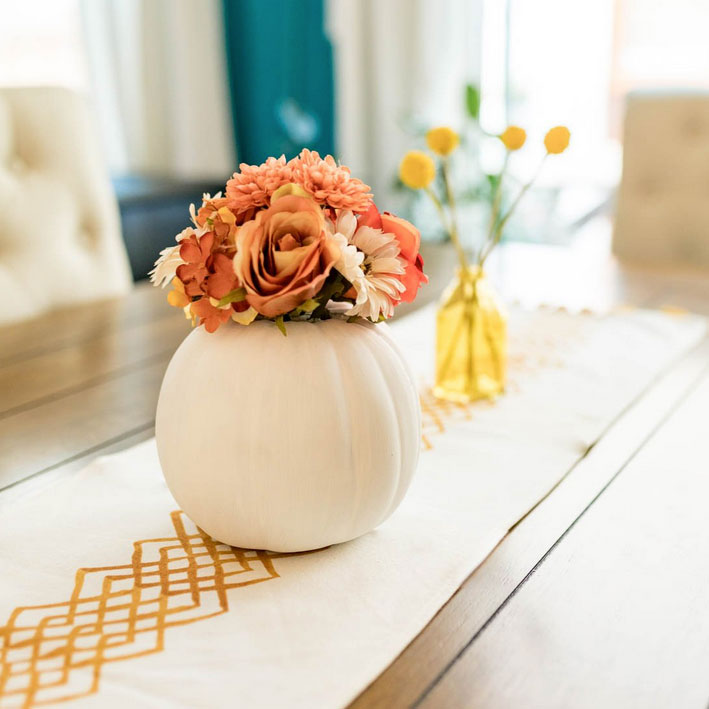 Pumpkin with flowers, photo