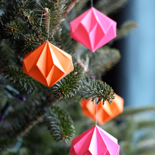 Origami diamond Christmas ornaments, photo