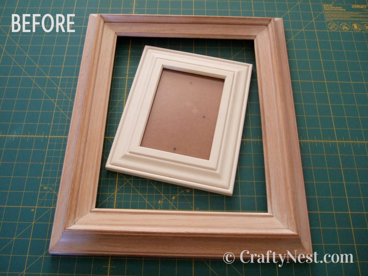 Two picture frames, before photo