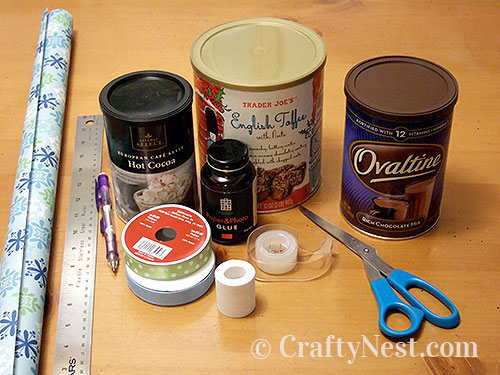 Supplies for gift wrapping canisters, photo