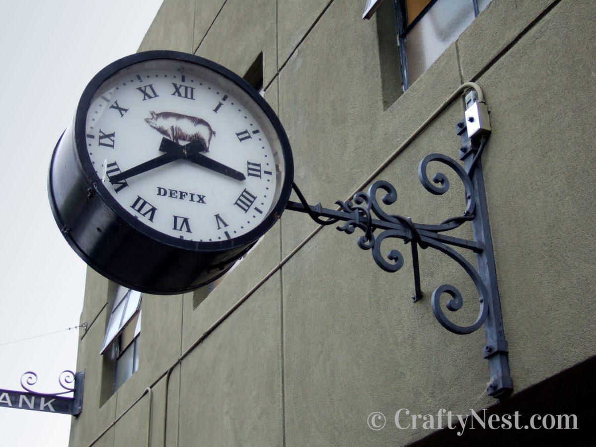 Outdoor train station clock, photo