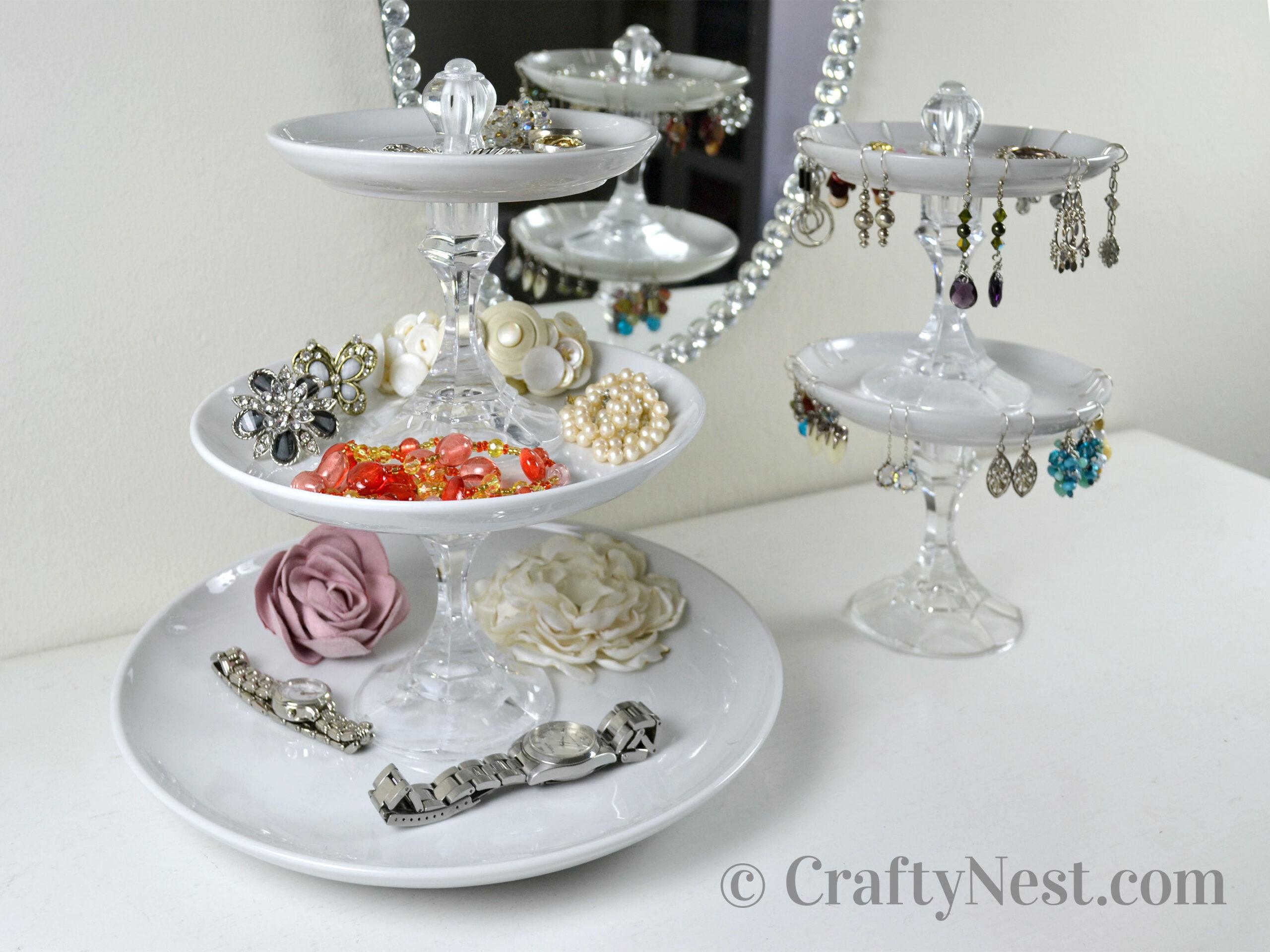Tiered jewelry trays with jewelry, photo