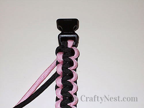 View of the paracord bracelet from the front, photo