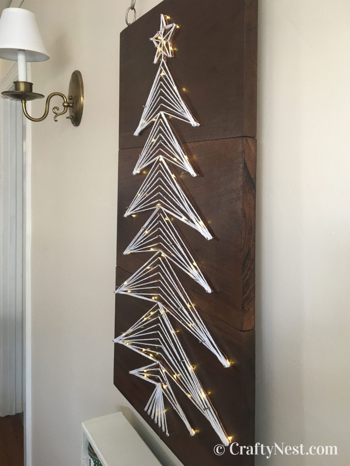 Side view of string-art Christmas tree, photo