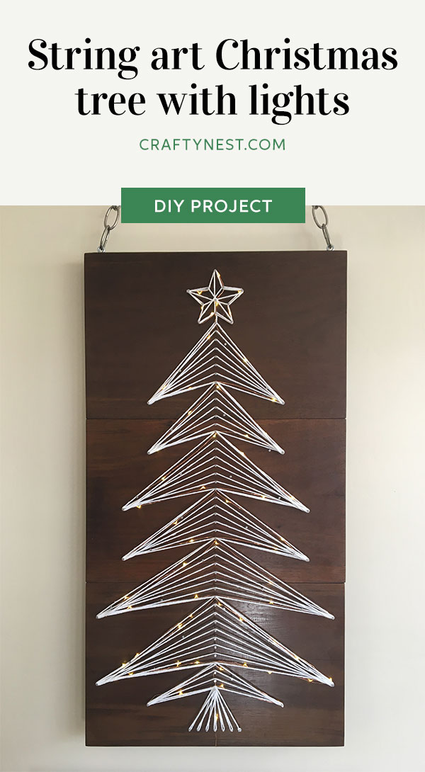 Crafty Nest string art Christmas tree with lights Pinterest image