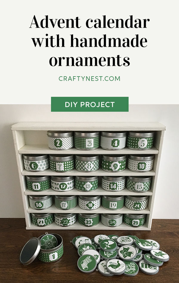Crafty Nest advent calendar with handmade ornaments Pinterest image