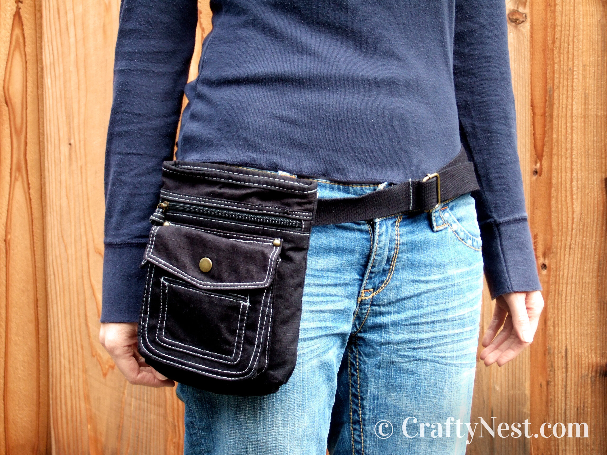 DIY belt bag made from a small purse, photo