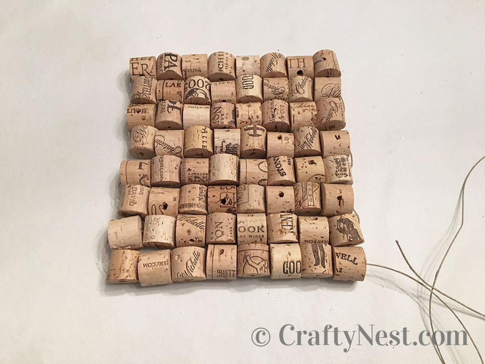 Corks arranged into a square shape, photo