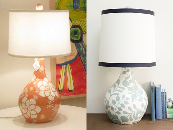 Jill Rosenwald's gourd-shaped hand-painted lamps, photo