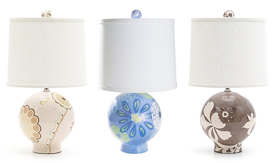 Jill Rosenwald's ball-shaped hand-painted lamps, photo