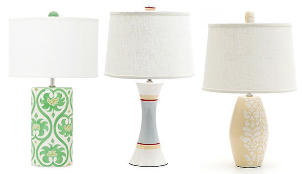 Jill Rosenwald's multi-shaped hand-painted lamps, photo