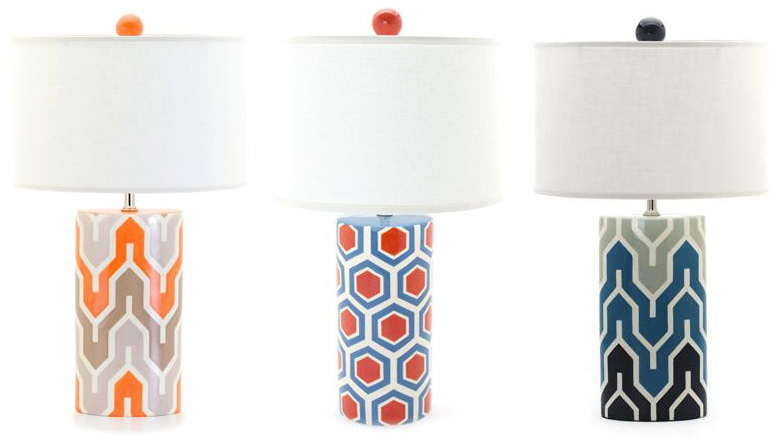 Jill Rosenwald's cylinder-shaped hand-painted lamps, photo