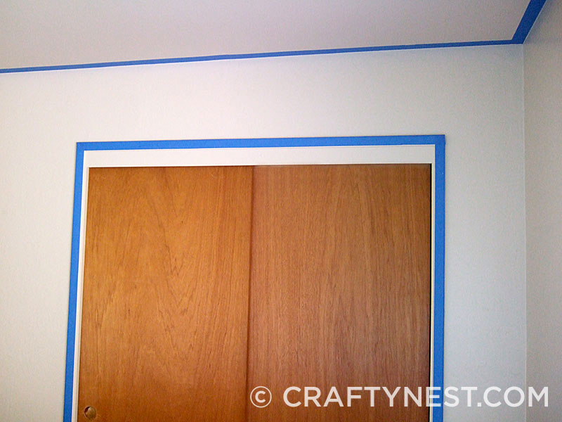 2-inch blue painter's tape on walls and ceiling, photo