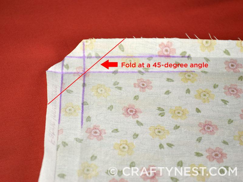Fold the corner at 45-degree angle, photo