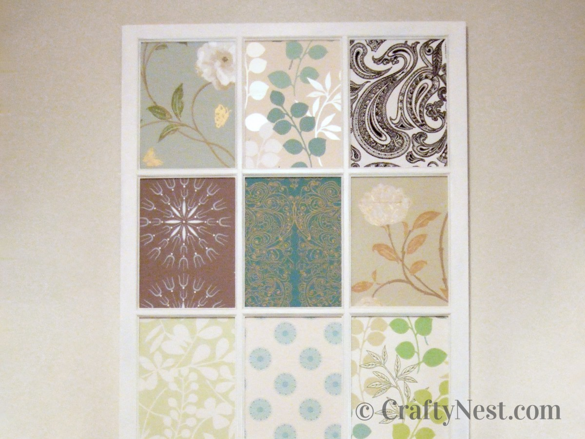 Window frame with different wallpaper in each pane, photo