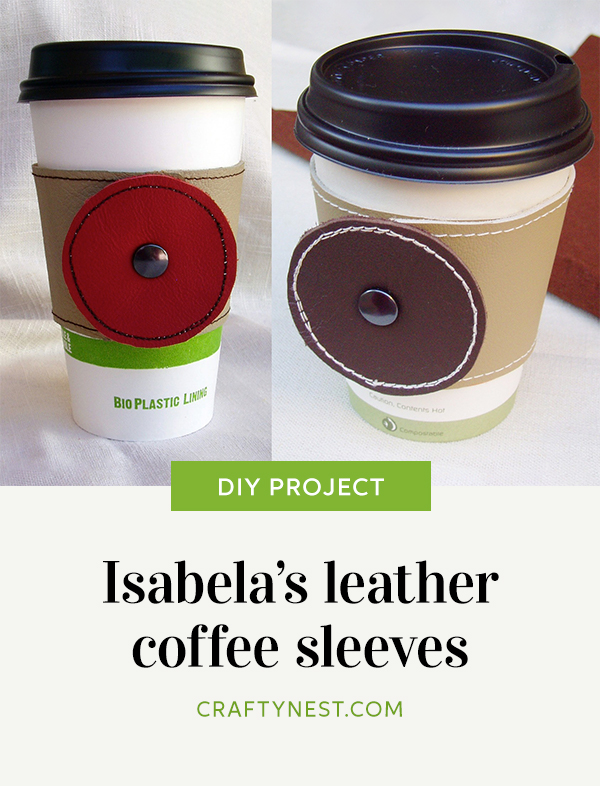 Crafty Nest leather coffee sleeves Pinterest image