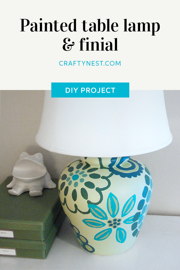 Crafty Nest painted table lamp & finial Pinterest image