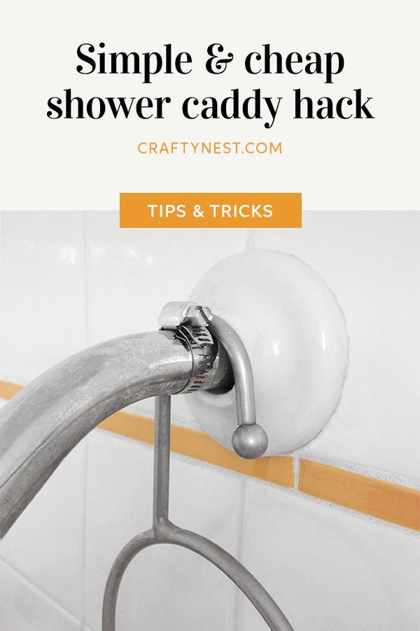 Crafty Nest shower caddy hack Pinterest image