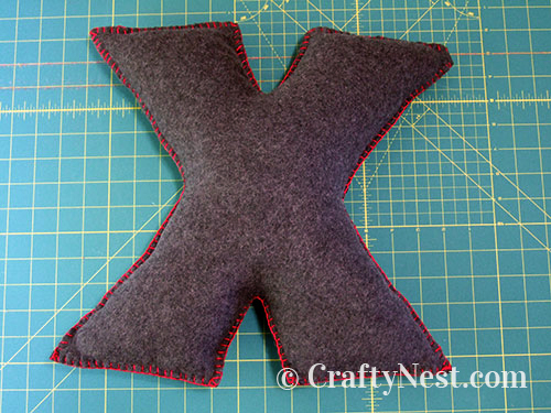 Finished X pillow, photo