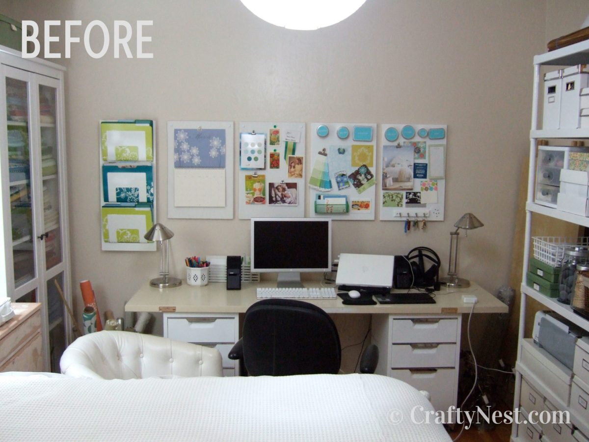 Desk, shelves, and wall decor, before photo