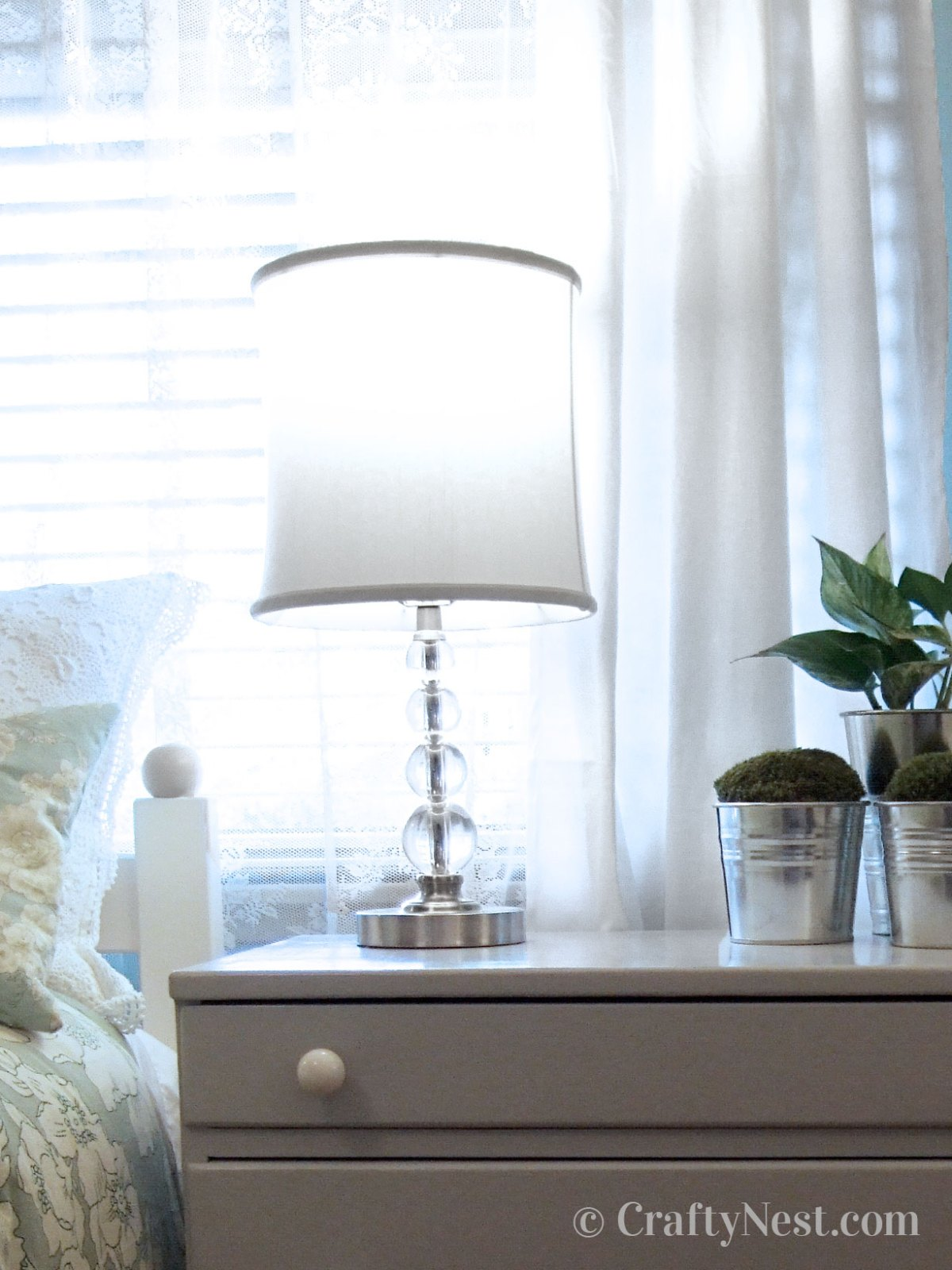 Small table lamp on dresser, photo