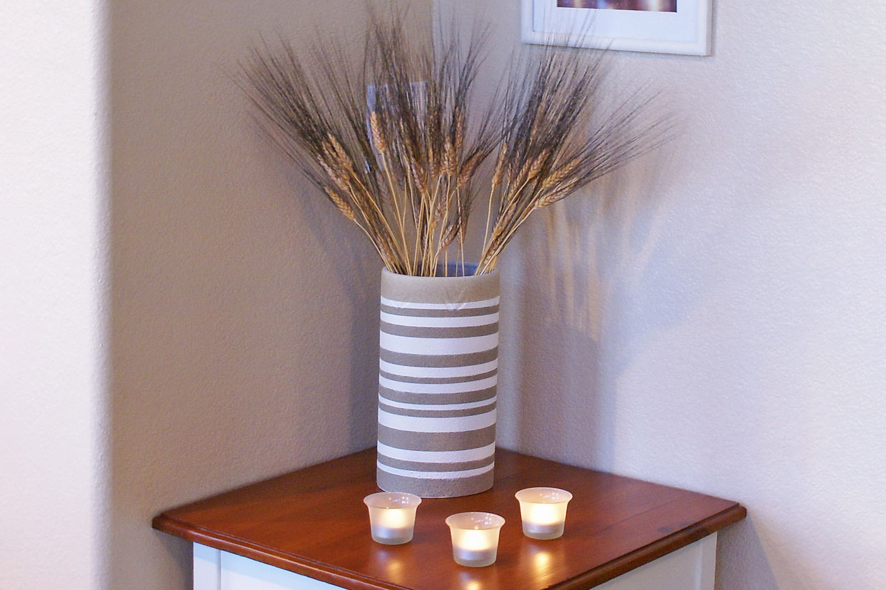 Side table, vase, votives & picture frames, photo